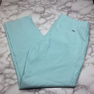 Vineyard Vines seersucker green striped ankle pant